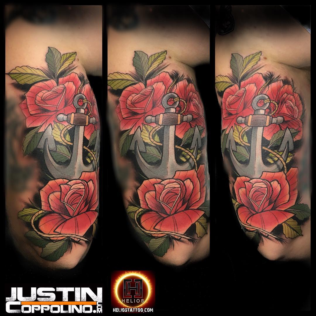 Here's a pic of the #anchor and #roses that I #tattooed yesterday at @foolishpridetattoo #foolishpridetattoo #stpete #saintpetersburg #tattoo #tattoos #tattoosafterdark used @heliostattoo needles #dermagloink #eternalink @eternalink #summer #tattooedguys #tattooeddudes #justintattoo