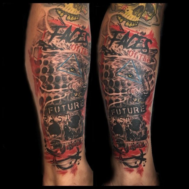 Tattooed my bros johnnystillstanding leg while hes here in Seattlehellip